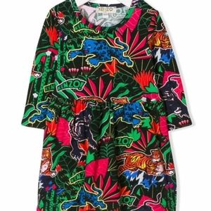KENZO KIDS JUNGLE PRINT VELOUR DRESS. SIZE: 12/152